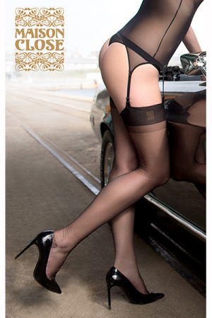 Bas rétro authentique : Bas voile rétro très fin en nylon 15 deniers, un retour aux sources de la lingerie féminine plein de sensualité.