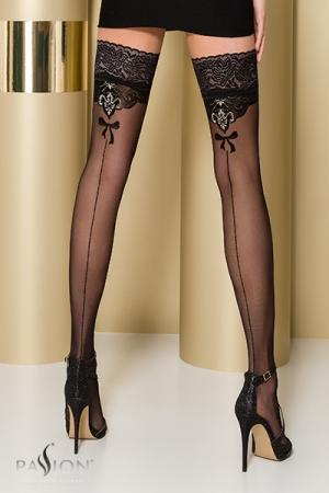 Bas autofixants ST103 Noir : Bas 20 deniers noirs avec une jarretière dentelle large autofixante et un motif couture fantaisie rehaussé d'un fil d'argent à l'arrière de la jambe.