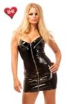 Robe Exposure vinyle : Robe en vinyle zippée, avec zips fonctionnels sur les seins.